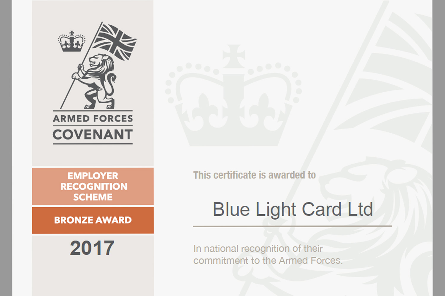 Armed Forces Covenant bronze award for DDS